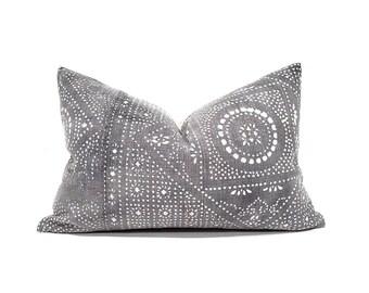 "13""×20"" grey Chinese batik pillow cover"