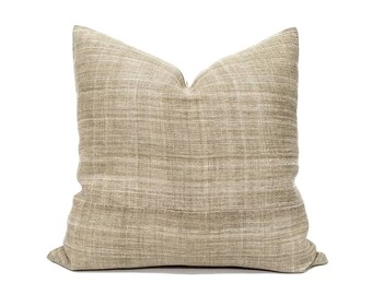 "20""& 22"" khaki sand hemp linen Hmong pillow cover in various sizes"