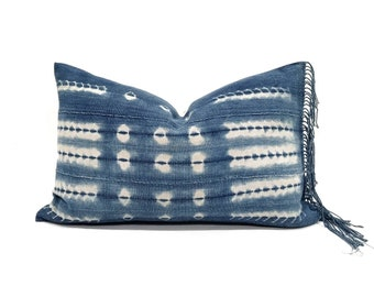 "12""×20"" fringe indigo mudcloth pillow cover"