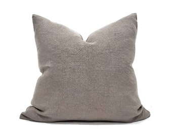 "22""& 24"" mushroom heavyweight washed belgian linen pillow cover"