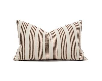 "13""×21"" wine stripe Asian textile cotton pillow cover"