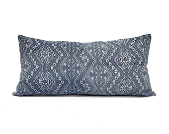 "14""×27"" indigo Chinese wedding blanket pillow cover"