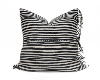 "21"" fringe on side indigo stripe Asian textile cotton pillow cover"
