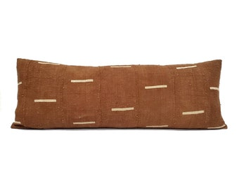 "13""×35"" rust w/ lines mudcloth bed pillow cover"