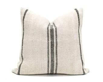 "21"" vintage grainsack black stripe pillow cover"