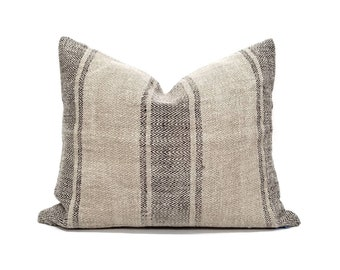 "18""×22"" vintage grainsack flax/black stripe pillow cover"