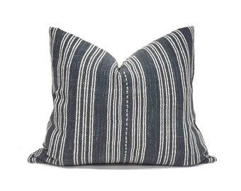 """19""""×22"""" black(navy undertone) stripe Asian textile cotton pillow cover"""