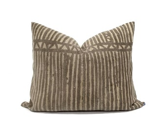 "16""×20"" vintage brown stripe mudcloth pillow cover"