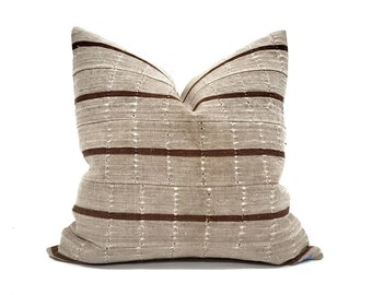 "18.25"" muted khaki stripe aso oke pillow cover cover"