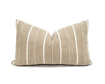 "13""×21"" khaki w/ white stripe aso oke pillow cover"