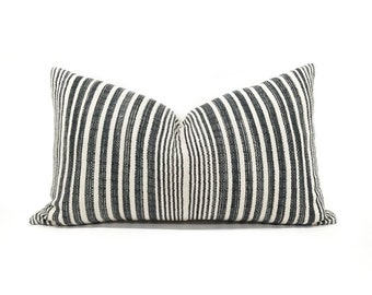 "13""×22"" muted indigo stripe Asian textile cotton pillow cover"