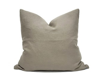 "22""& 24"" muted olive heavyweight washed belgian linen pillow cover"