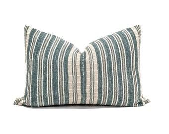 """15.25""""x 22"""" green/khaki stripe Asian textile cotton pillow cover"""
