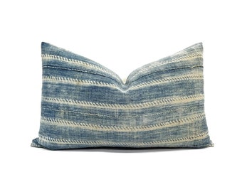 "12""×20"" Indigo mudcloth lumbar pillow cover"