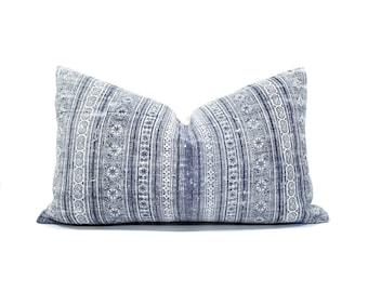 "12""×20"" indigo hmong batik pillow, hmong hemp linen pillow cover"