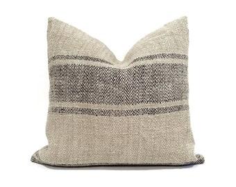 "Grainsack pillow cover, 17""×17.5"" vintage grainsack flax/black stripe pillow cover, farmhouse pillow, hemp linen pillow"