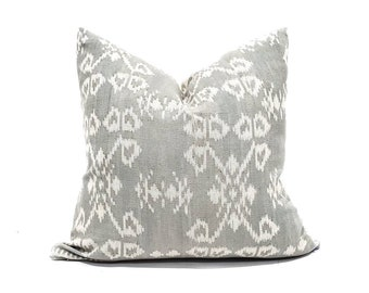 "18"" muted grey(blue undertone) ikat pillow cover"