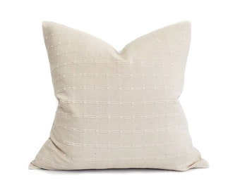 Various sizes cream embroidered stripe cotton Asian textile pillow cover