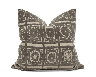"20"" vintage dark brown mudcloth pillow cover"
