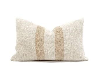 "11.75""×18.5"" vintage grainsack caramel stripe pillow cover"