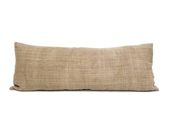 "13""x35"" camel hemp linen Hmong bed pillow cover"