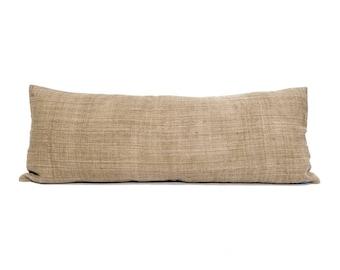 """13.25""""x35"""" camel hemp linen Hmong bed pillow cover"""