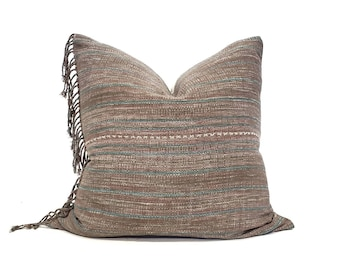 """21"""" fringe on side muted plum Asian textile cotton stripe pillow cover"""