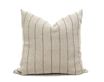 European linen flax with black stripe pillow cover in various sizes