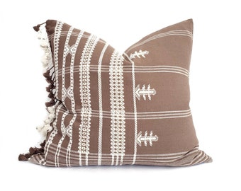 """20"""" tassels on side brick Indian cotton embroidered pillow cover"""