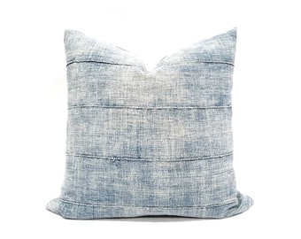 Light indigo vintage mudcloth pillow cover in various sizes