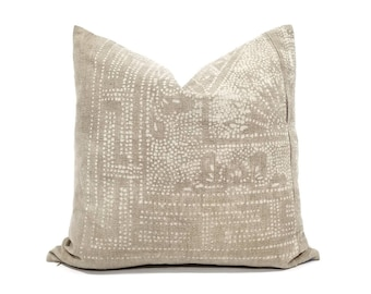 """20"""" sand Chinese batik pillow cover"""
