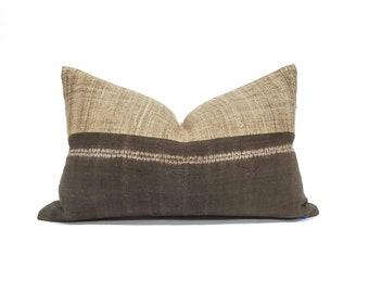 """14""""×22"""" brown hemp linen hmong bone batik print + camel hemp linen pillow cover"""