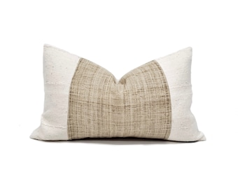 "13""×21"" flax hemp linen+ cream mudcloth pillow cover"