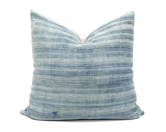 "20"" light indigo variegated stripe pillow cover"