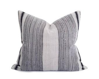 """22""""×24"""" indigo stripe hmong hemp pillow cover"""