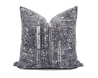"22"" greyish indigo hmong batik pillow cover"