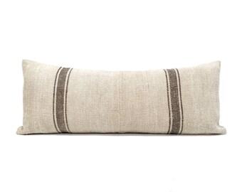 "13""×32.5"" vintage grainsack black stripe pillow cover"