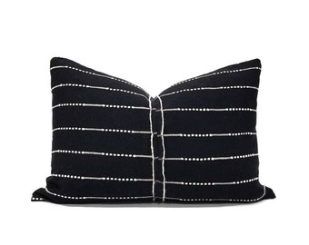 """13""""×19"""" black with cream embroidery cotton pillow cover"""