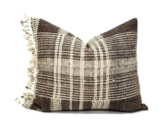 """16""""×19"""" muted grayish brown indian wool pillow cover with fringe"""