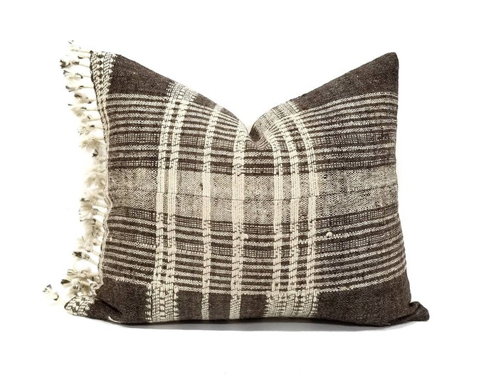 """Featured listing image: 16""""×19"""" muted grayish brown indian wool pillow cover with fringe"""