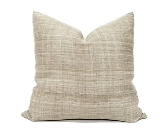 """20""""& 22"""" light khaki hemp linen Hmong pillow cover, linen pillow"""