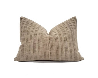 "Chinese hemp pillow cover, 15""×21"" muted camel/khaki fireweed Chinese hemp linen pillow cover"