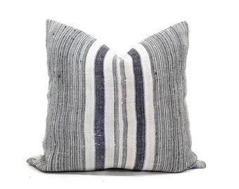 """20"""" indigo stripe hmong hemp linen pillow cover"""