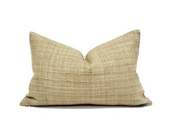 Various sizes mustard hemp linen Hmong pillow cover