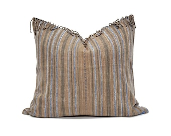 "20.5""×22"" fringe on top brown/blue stripe Asian textile cotton pillow cover"