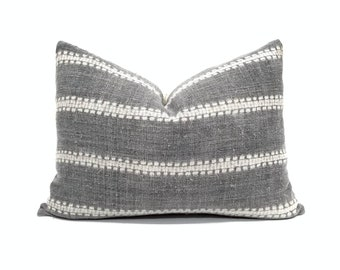 "14.5""×20"" Hmong hemp grey batik pillow"
