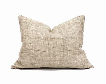 """16""""×20"""" natural hemp linen Hmong pillow cover"""