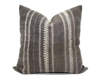"21"" brownish grey hmong batik bone print pillow cover"