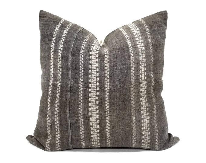 "Featured listing image: 21"" brownish grey hmong batik bone print pillow cover"
