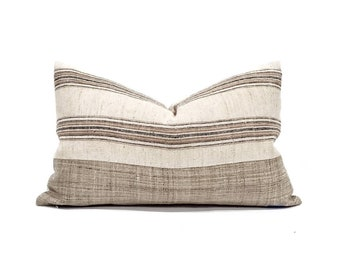 "13""×22"" wool/cotton soft muted stripe+ khaki hemp bottom pillow cover"